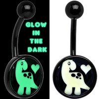Black Glow in the Dark Cute Dinosaur Belly Ring | Body Candy Body Jewelry