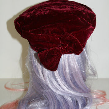 90s crushed velvet beret beanie hat soft grunge hippie music festival cyber goth punk boho cosplay lolital clothing accessories hair bow