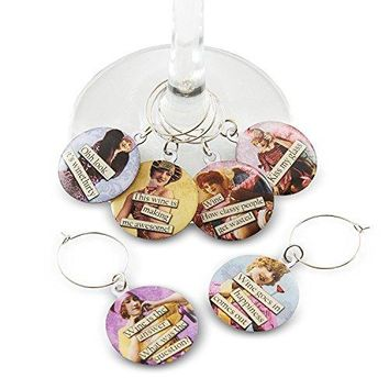 Funny Vintage Women Wine Glass Charms  Set of 6 Wine Tags Always know which glass is yours with these wine markers