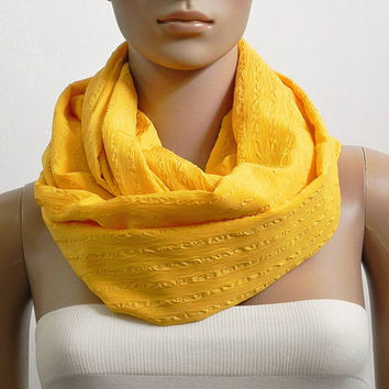 Yellow Infinity Scarf Shawl Long Fashion Scarves for Women Loop Scarf Chunky Cowl Scarf Tube Scarf Circle Summer Scarf Gift for her Handmade