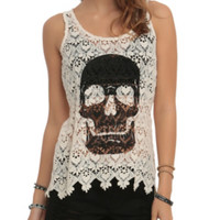 Ivory Crochet Skull Girls Tank Top