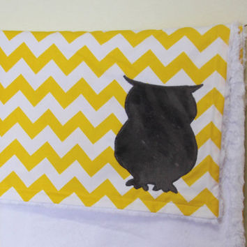 Chevron Owl Blanket With Monogram, Yellow Chevron Owl Blanket, Monogrammed Chevron Blanket, Grey and Yellow Chevron Blanket