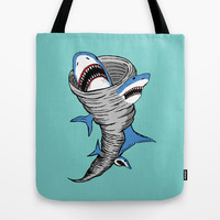 Shark Tornado Tote Bag by JARHUMOR