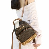 Michael Kors Abbey Mini Backpack Crossbody Stud Brown Acorn Extra Small