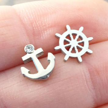 Silver Ships Wheel and Anchor Post Earrings Stud Earrings
