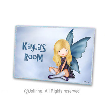 Personalized children art, kids door sign, angel, blue, nursery sign, kids art, room sign, children room decor