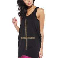 AX Paris Women's Studded Cross Drop Back Top