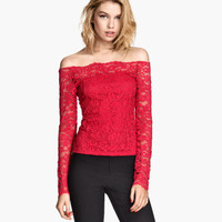 H&M Off-the-shoulder Lace Top $24.95
