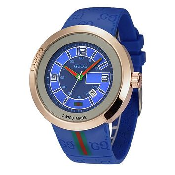 GUCCI beautiful men and women models stylish watch F-YF-GZYFBY Blue