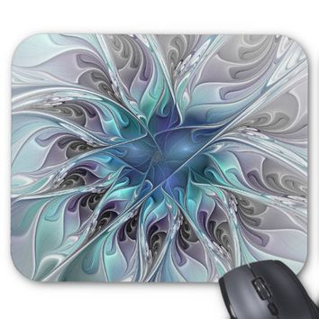Flourish Abstract Modern Fractal Flower With Blue Mouse Pad