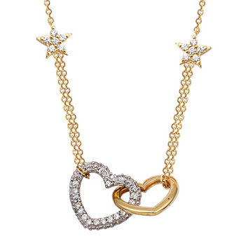 Loyal Hearts 14k Solid Gold Necklace with Stars