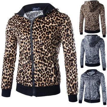 Hoodies Leopard Print Men's Fashion Casual Men Tops Jacket [6528648963]