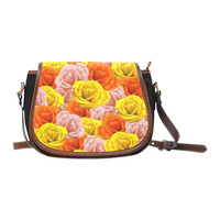 Roses Pastel Colors Floral Collage Saddle Bag/Small (Model 1649)(Flap Customization) | ID: D2768703