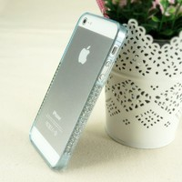 Rainbow Color Plastic Frame Case with Rhinestone for iPhone 5 (light green)