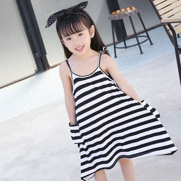 2016 new summer sling dress children clothing child clothes baby girls cotton dresses kids black & white striped girl dress