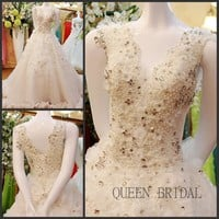 Ivory lace appliques beaded organza ruffle indian 2018 wedding dress plus size bridal gown vestidos casamento bridal dresses BC0