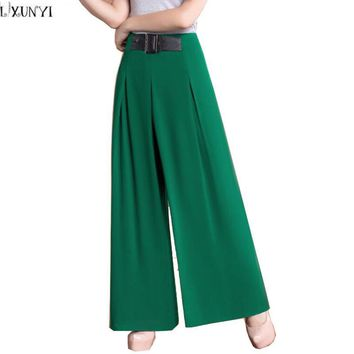 2017 Summer High Waist Wide leg Pants Large Size Female Formal Chiffon Trouser OL Fashion Straight Pants Women Plus Size loose