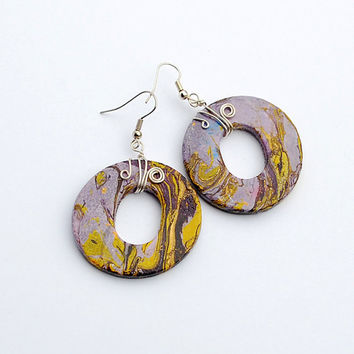 Large lilac, yellow and purple boho earrings with abstract handpainted patterns. Unique hippie jewelry.