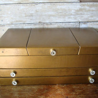 Vintage Womens Jewelry Box Gold  From 50s or 60s Unique