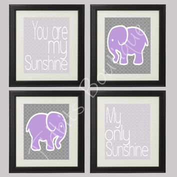 Set of 4 You are my Sunshine, My only Sunshine Elephant nursery print