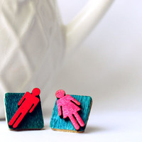 People Earrings, Neon Bathroom Sign People Hot Pink and Turquoise Geometric Shape Square Post Earrings for Sensitive Ears