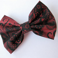 Womens fabric bow, girls black hair clip, womens shabby chic bows,  Lace Kawaii rockabilly hairclips, classic tuxedo bow, burgundy big bow