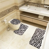 2016 hot zebra pattern toilet sets, 3 sets of toilet Toilet seat cover floor mat  toilet seat cushion Bathroom products