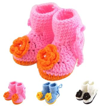 1 Pair High Quality Baby Girl Winter Snow Boots Crochet Knit Fleece Baby shoes 2017 Winter Warm First Walkers #ES