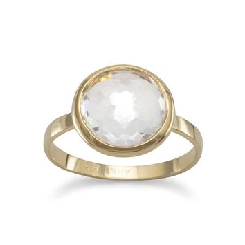 Vermeil Freeform Faceted Clear Quartz Stackable Ring