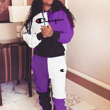 Champion New fashion embroidery letter long sleeve top and pants two piece suit Purple