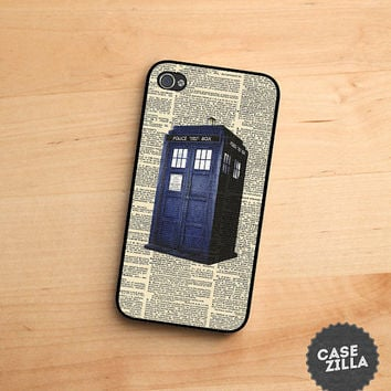iPhone 5 Case Doctor Who Tardis Police Call Box On Dictionary iPhone 5S Case, iPhone 4/4S Case, iPhone 5C Case