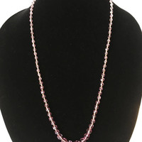 Purple and Gold Tone Faceted Crystal Beads, Vintage Graduated Bead Necklace