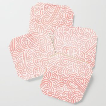 Rose quartz and white swirls doodles Coaster by savousepate