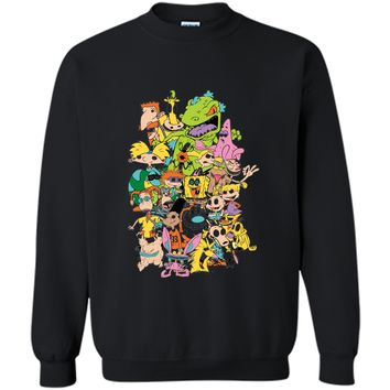 Nickelodeon Complete Nick 90s Throwback Character  Printed Crewneck Pullover Sweatshirt