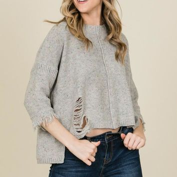 Fall Sweater Confetti Destroyed - Grey