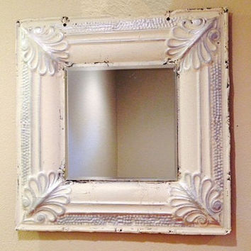 Antique ceiling tile mirror,white with silver, tin mirror, ceiling tile