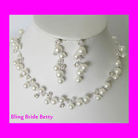White Pearl Crystal Bridal Vining Necklace, Bracelet Earring W Rhinestone Accent