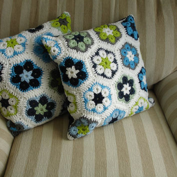 Crochet Decorative Pillow - 2 pair decorative pillows -Blue and Green Pillows- african flower pillow -home decor - cotton decorative pillows