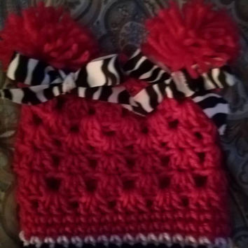 Baby Girl Pom Pom Hat, Beanie, zebra ribbon,infant winter hats, photo prop