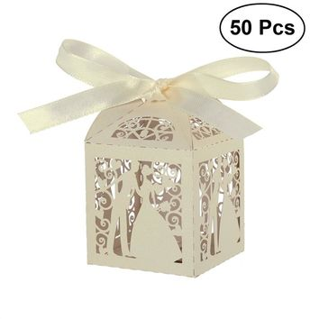 50pcs Couple Design Luxury Lase Cut Wedding Gift Favour Boxes with Ribbon (Creamy-white)