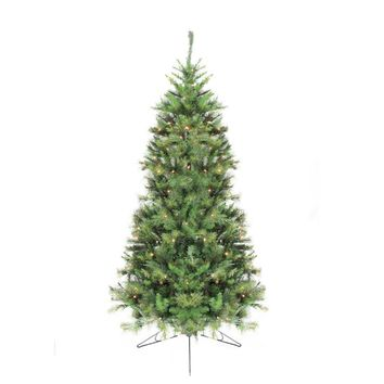 6.5' Pre-Lit Canyon Pine Artificial Half Wall Christmas Tree - Clear Lights