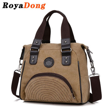 RoyaDong 2016 Women Shoulder Bags Canvas Big Vintage Handbags Shoulder Bag Designer Crossbody Bag For Women