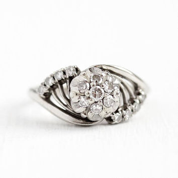 Diamond Cluster Ring - Vintage 14k White Gold .45 CTW Halo - Size 6 1/2 Retro 1960s Fine Engagement Bridal Anniversary Jewelry