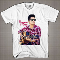 Bruno Mars Playing Guitar  Mens and Women T-Shirt Available Color Black And White
