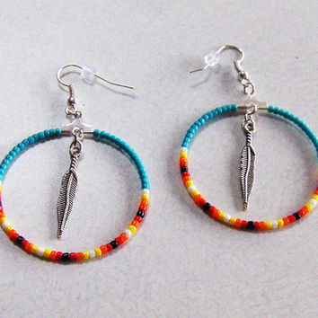 Hoop Earrings With Feather Charm Dangle,Jewelry,Gifts For Her,Womens Jewelry,Earrings,Feather Charms,Dangle Earrings,Hoops,Gift Ideas