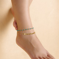 Shiny Sexy Gift Cute Jewelry Stylish Ladies New Arrival Accessory Simple Design Vintage Summer Turquoise Weathered Double-layered Anklet [7241005447]