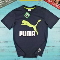 PUMA 2018 summer new fashion pullover round neck loose breathable sports casual T-shirt F-AG-CLWM Navy blue
