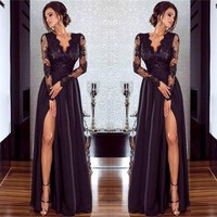 Women Lace Evening Party Ball Prom Gown Dress Formal Cocktail Wedding Long Dress