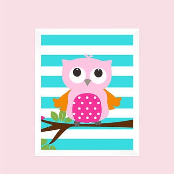 Pink and Orange Owl on Aqua Stripes, Animal, Baby Nursery Art CUSTOMIZE YOUR COLORS 8x10 Prints Nursery Decor Print Art Baby Room Decor