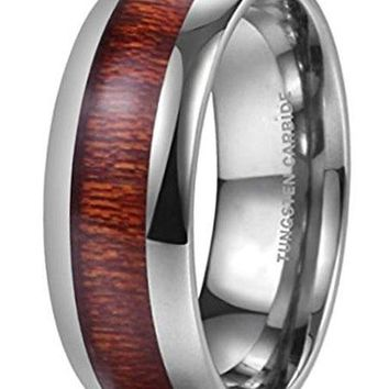CERTIFIED 8MM NATURE Domed Koa Wood Tungsten Carbide Ring Wedding Band